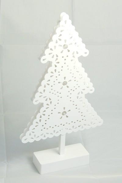 Weißer Tannenbaum aus Kunststoff m.LED-Beleuchtung 20LEDs warmweiß