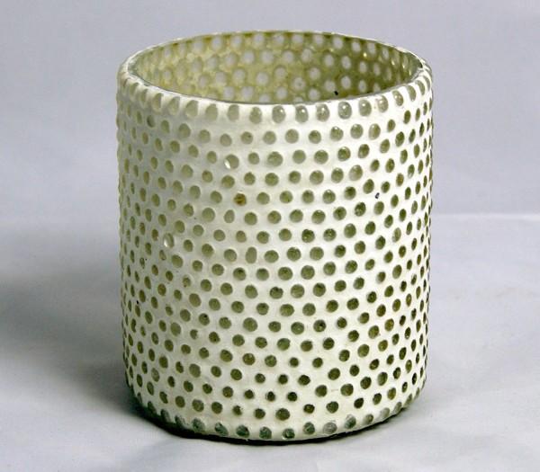 Glas-Teelichthalter Terassen-Windlicht auch für indoor - weiß mit Kugeln