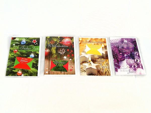 Weihnachtskarten m.Tasche SET 1-22075 Klapp Gruß Weihnachtskarte mit ...