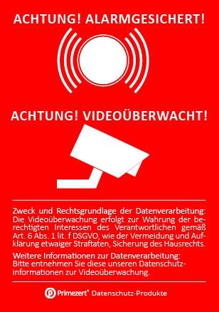 Datenschutz-Aufkleber | Hinweis Achtung! Video-Überwacht! Alarm-Gesichter! | DIN A8