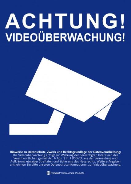 Datenschutz-Aufkleber | Achtung! Video-Überwachung | DIN A6 blau
