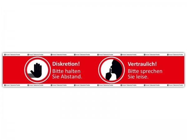 Boden-Markierung: Diskretion - Abstand halten u. leise sprechen | Fußboden-Aufkleber