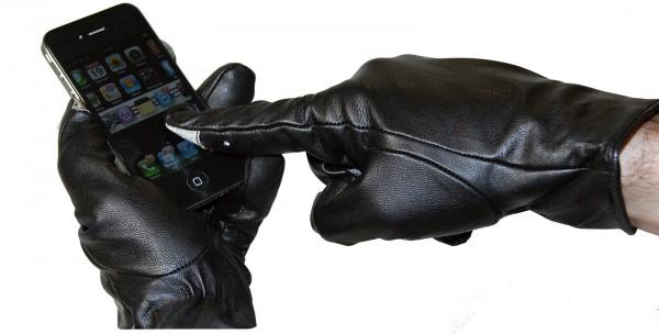 PREMIUM Touch-Handschuhe für Touchscreen-Handy+PDA Gr. M =5,5-6 aus echtem LEDER