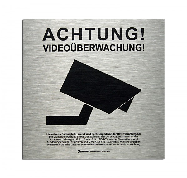 Datenschutz-Schild | Achtung! Video-Überwachung | Aluminium (gebürstet)
