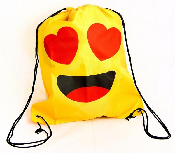 Gelber Emoticon-Umhängebeutel Umhänge-Beutel-Tasche Sport-Beutel-Tasche Motiv: Herzaugen