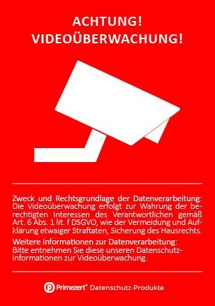 Datenschutz-Aufkleber | Hinweis Achtung! Video-Überwachung | DIN A8