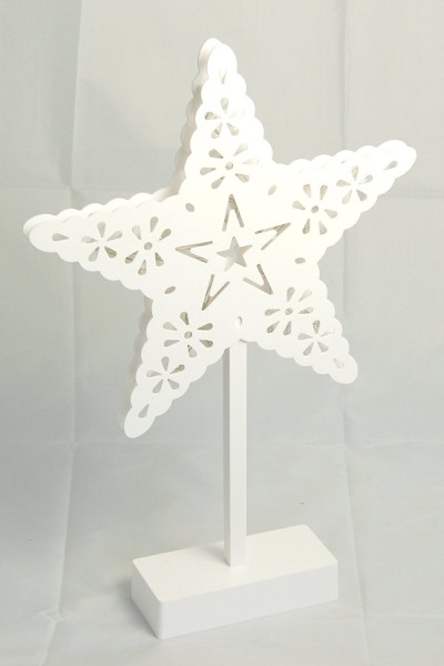 Weißer Stern aus Kunststoff m.LED-Beleuchtung 20LEDs warmweiß