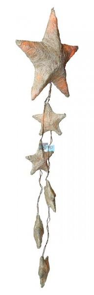 15 LED Sisal Weihnachtsstern Weihnachtssternkette Stern-Kette Lichterkette GOLD