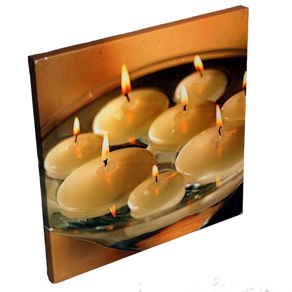 stimmungsvolles Wandbild Bild - Kerze mit LED-Beleuchtung mit Wasserkerzen-Motiv
