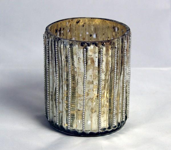 Glas-Teelichthalter Terassen-Windlicht auch für indoor - verspiegelt mit silbernen Kugeln