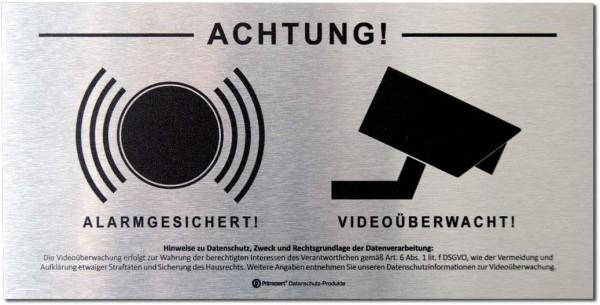Datenschutz-Schild 10x20cm | Achtung! Video-Überwachung Alarm-Gesichert | Aluminium (gebürstet)