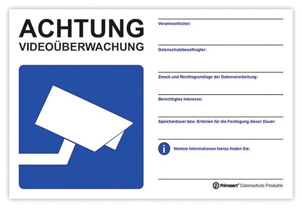 Hinweis-Schild Video-Überwachung weiß | beschriftbar