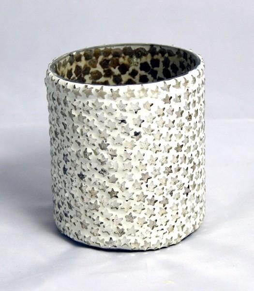 Glas-Teelichthalter Terassen-Windlicht auch für indoor - weiß mit Sternchen