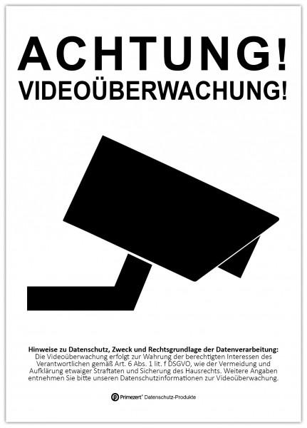 Datenschutz-Aufkleber | Achtung! Video-Überwachung | DIN A6 transparent